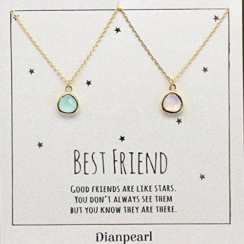 Friendship Quotes Jewelry: Pink And Aqua Crystal Necklace, Best Friends Necklace For