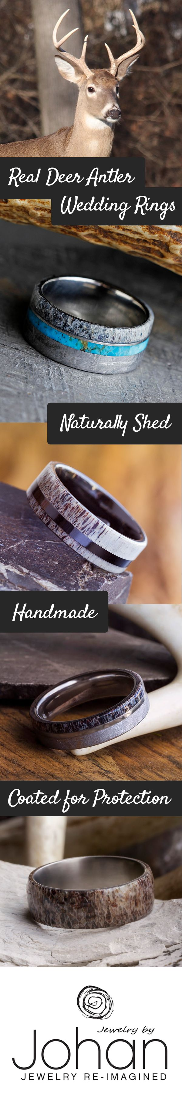 deer antler ring antler wedding band Show off your love of the hunt with a real deer antler wedding ring Send