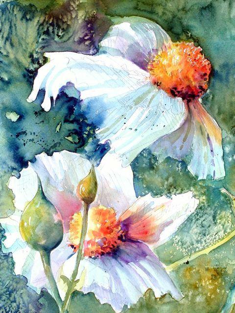 Cathy Quiel.  Love the burst of oranges against the white.