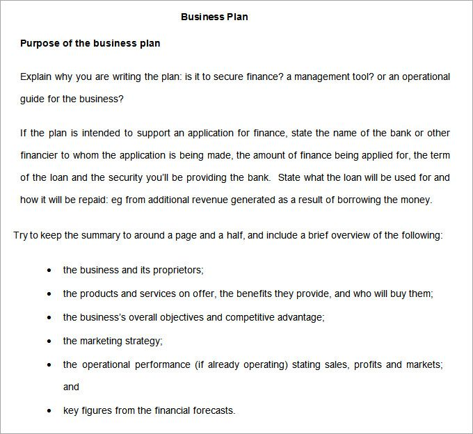Purpose Of Preparing A Business Plan - Performance professional