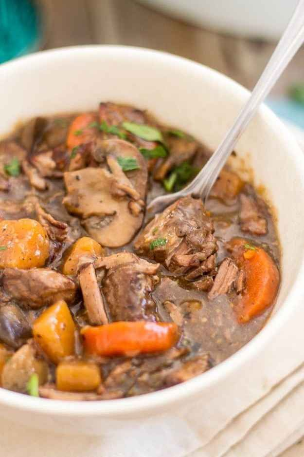 Squeaky Clean Bouef Bourgignon paleo crock pot