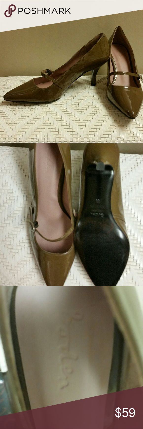 """Boden Vintage-inspired Patent-leather Kitten Heels Slip these on your feet and think of Audrey Hepburn (or Mad Men, depending upon your viewing experience) to enjoy an experience in timeless fashion. These shoes were crafted in Spain in a pecan brown patent leather. Adjustable strap; 2-3/4"""" heels. Brand new without box or tag. Broden Shoes Heels"""
