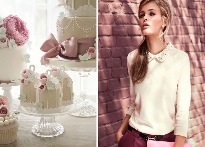 creative combinations, matching fashion and sweets, pastel colours, wedding cake, romantic mood