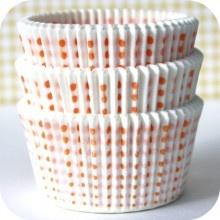 White and Tangerine Orange Sweet Spot Cupcake Liner