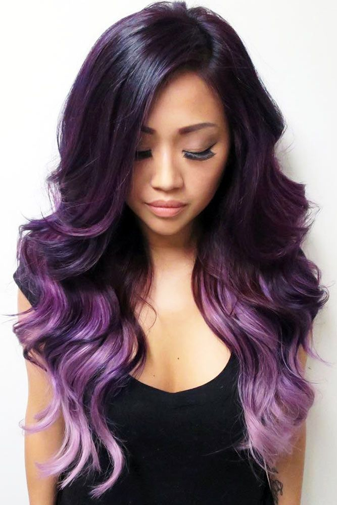 Ombre hair brown to pastel purple
