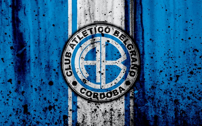 Download wallpapers 4k, FC Belgrano, grunge, Superliga, soccer, Argentina, logo, Belgrano, football club, stone texture, Belgrano FC