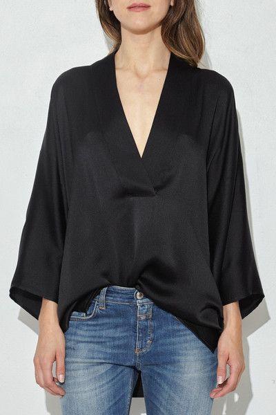 Black Pebbled Silk Kimono Top