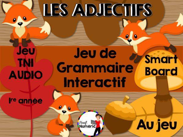 Jeu TNI sur les adjectifs. Grammaire interactive sur TBI pour les élèves du 1er cycle du primaire.
