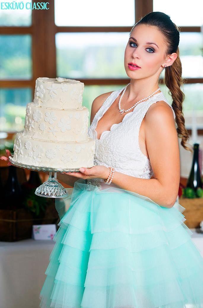 Menta wedding Dress! #wedding #dress #white #lace #tulle #menta #color #mentacolor #kefashion