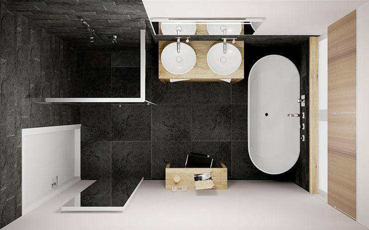 Badkamer Met Eikenhouten Badmeubel Vrijstaand Solid