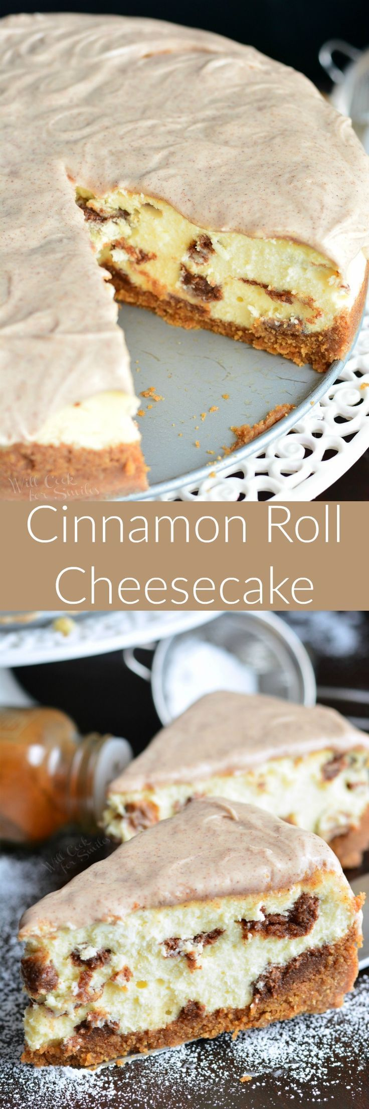 Cinnamon Roll Cheesecake. Creamy, smooth, silky cheesecake made to taste just like cinnamon buns. This cheesecake has a cinnamon flavored crust, smooth cheesecake filling, bit of cinnamon filling throughout, and cinnamon icing on top.