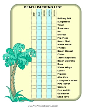 This fun beach packing list features a palm tree and is perfect for the whole family! From your swim trunks to your MP3 player, everyone will remember what they need to bring by using this form. Free to download and print