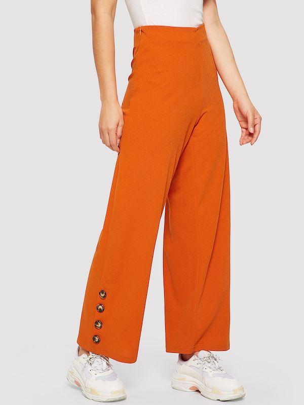3e2840a9ce2 Button Detail Wide Leg Pants -SheIn(Sheinside)