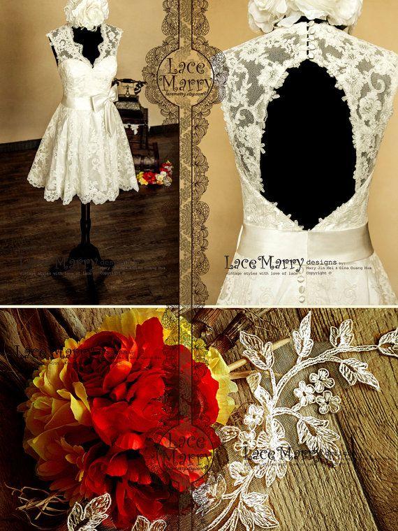 Ojo de la cerradura y rodilla longitud de encaje boda vestido características V-Cut escote abierto con bordes festoneados - vestido de novia...