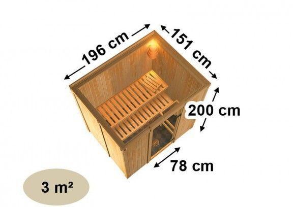 Karibu Sauna Fanja mit Dachkranz (Fronteinstieg) inkl. Bio-Kombiofen 3,6 kW mit externer Steuerung