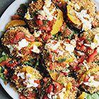 Wasabi-paddenstoelen met spinazie, tomaat en sinaasappel - recept - okoko recepten