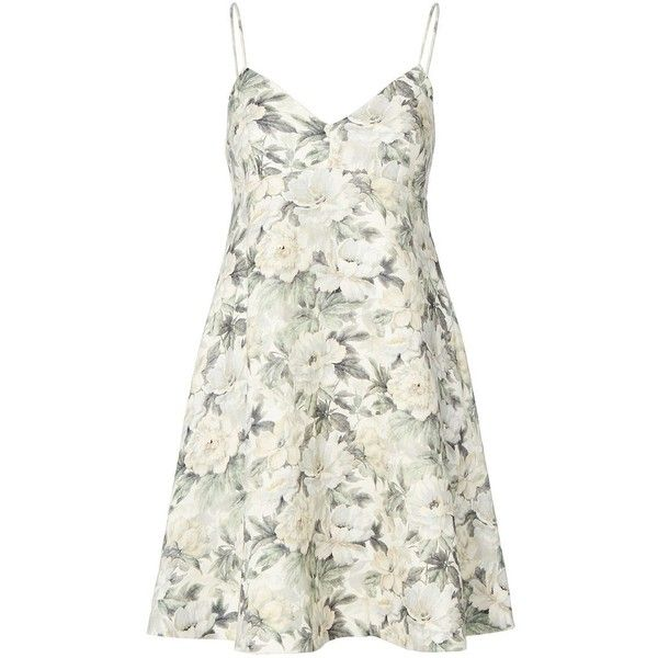 Zimmermann Women's Floral Linen Sun Dress ($530) ❤ liked on Polyvore featuring dresses, vestidos, floral, white v neck dress, white dress, white a line dress, sun dresses and white linen dress