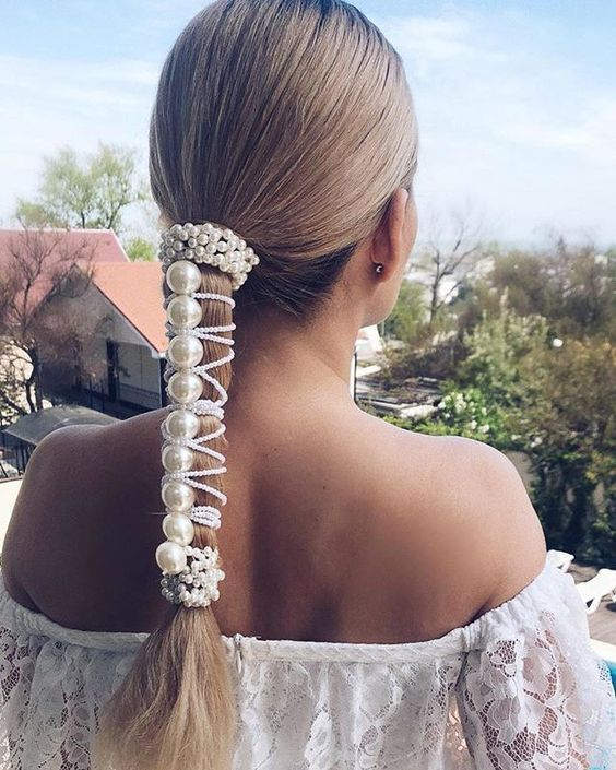 Embroidered  barrette for long hair with birds Bridal hair clip with a blooming twig Gift for blonde
