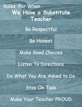 Motivational Posters for Classroom Decor Rules For When We Have a Substitute Teacher Be Respectful Be Honest Make Good Choices Listen To Directions Do What You Are Asked to Do Stay On Task Make Your Teacher PROUD FAIL FIRST ATTEMPT IN LEARNING Don't let failure be an ending.