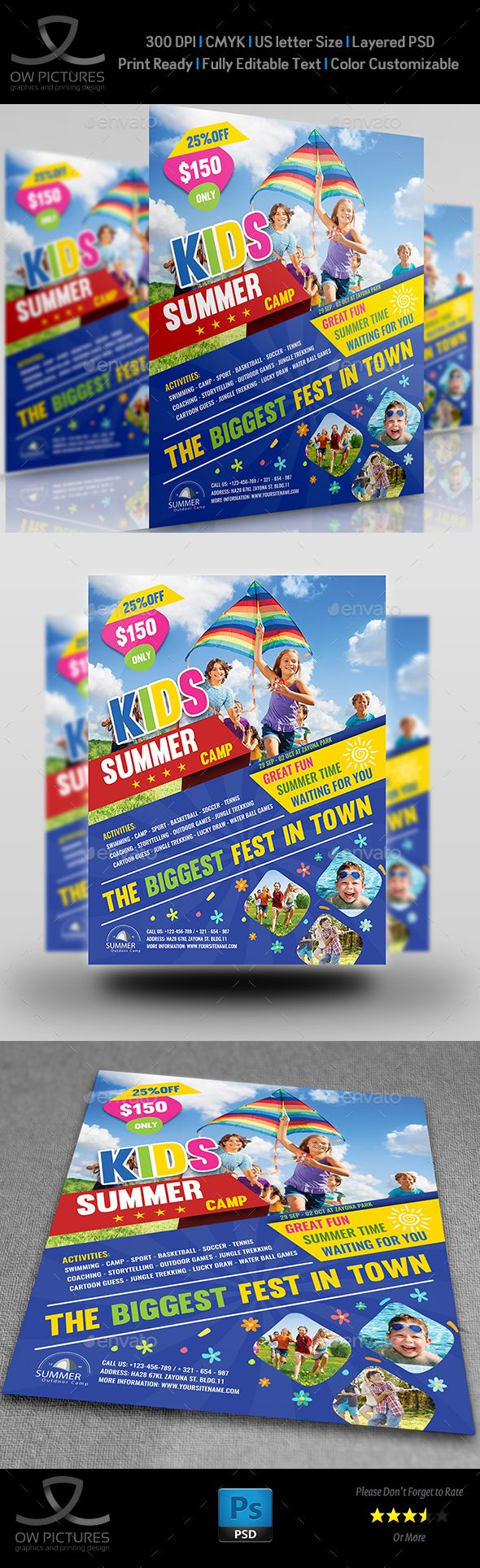 Kids Summer Camp Flyer Template PSD. Download here: https://graphicriver.net/item/kids-summer-camp-flyer-template/17017261?ref=ksioks
