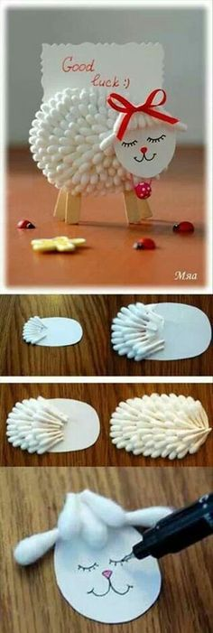 DIY Lamb Notes Holder Using Cotton Swabs