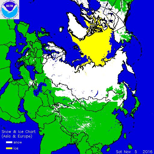 Check out the map of snow cover. I just watched a video about the coming