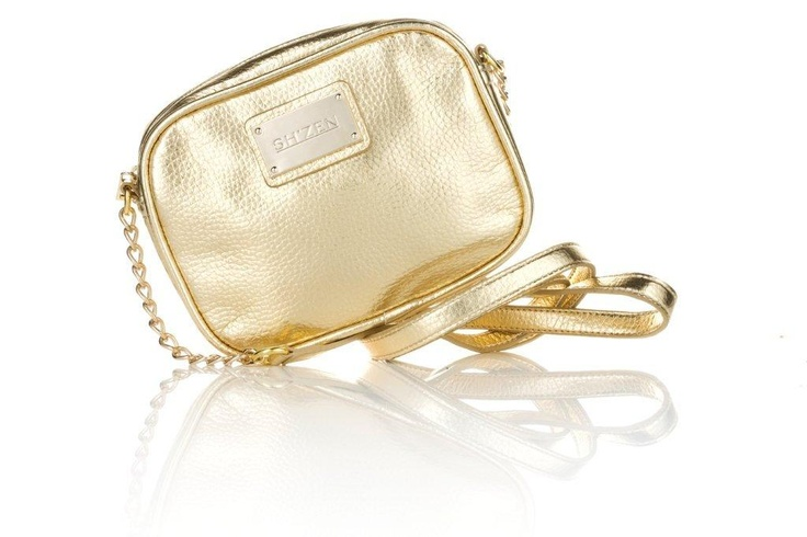 Our trendy, glamourous gold evening bag with chain detail - the perfect size to fit in everything you need for a night out.