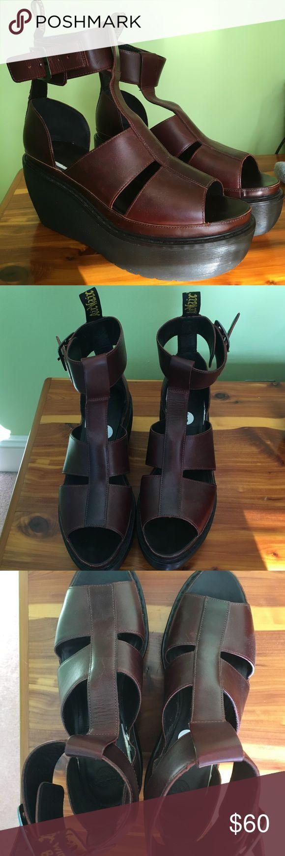 Doc Martin adaya platforms Open toed platform sandals with reddish brown leather. Lightly worn. Dr. Martens Shoes Platforms