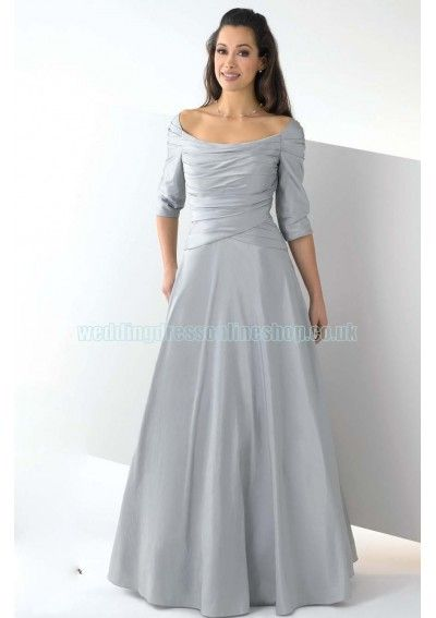 Wedding dress online shop - Taffeta Elegant Ruched Bodice with Elbow Length Sleeves and Floor Length A Line Skirt Hot Sell Silver-Grey 2011 Bridesmaid Dress BM-0564
