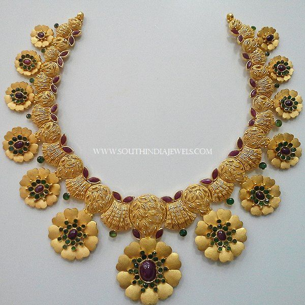 Gold Designer Floral Choker, Gold Choker Necklace With Green Stones, Gold Choker With Red Stones.