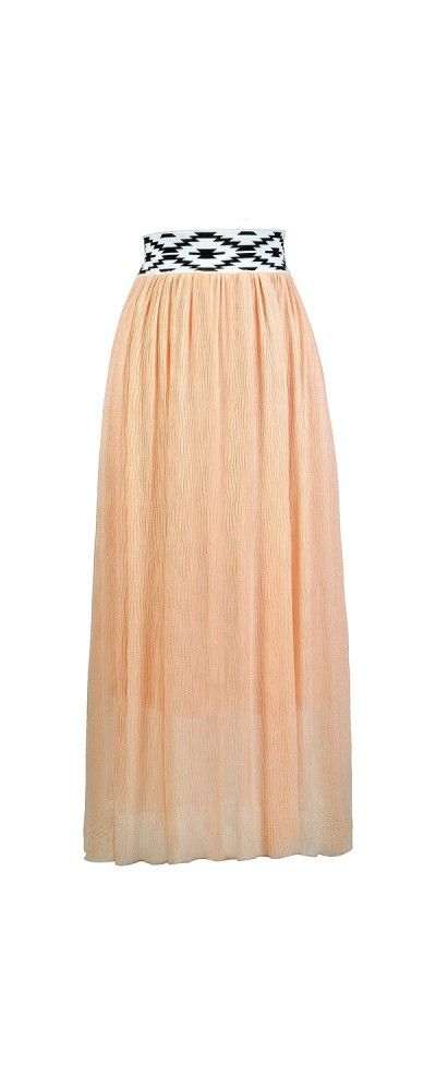 Lily Boutique Graphic Contrast Waistband Skirt in Peach, $22 Peach Maxi Skirt, Cute Maxi Skirt, Summer Maxi Skirt www.lilyboutique.com