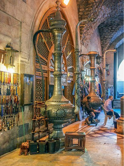 So sad this has been badly damaged by war.      Large urn inside Aleppo's souk. Photo: Simon Jenkins