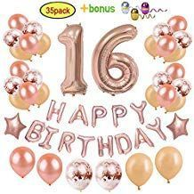 Sweet Sixteen Decorations Party Supplies for Girls | Rose Gold Sweet 16 Birthday Party Giant Number Foil Balloon 12 Rose Gold Confetti Air ...