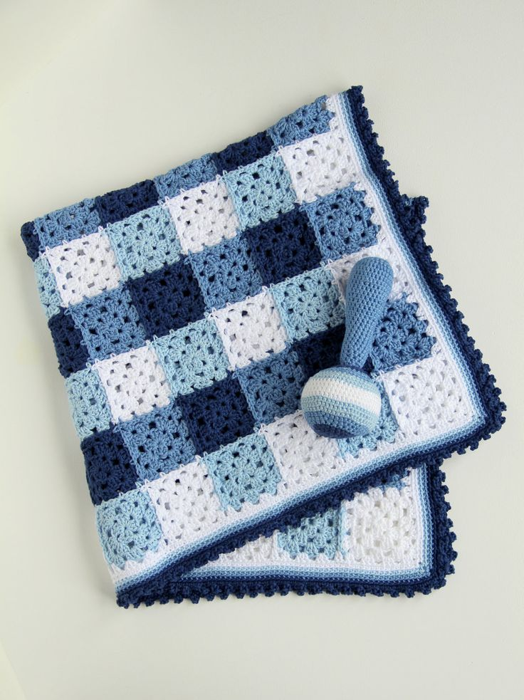Crochet Pattern Baby Blanket And Rattle Crochet Squares