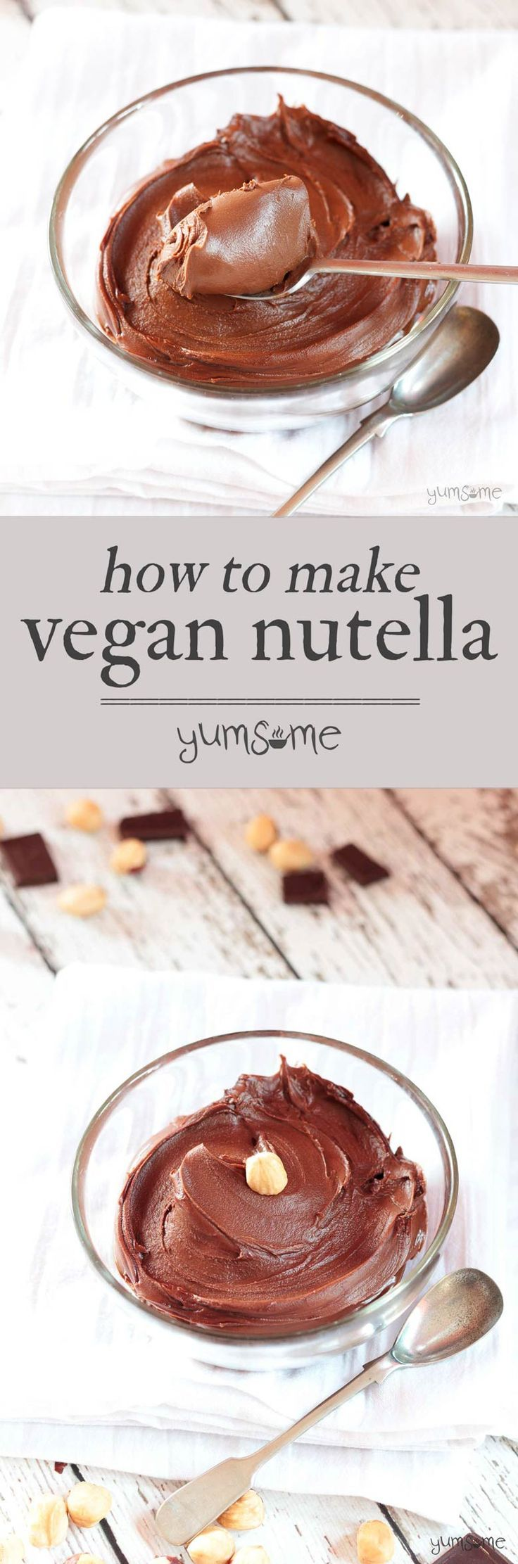 Made with just half a dozen ingredients, and ready in half an hour, this vegan 'Nutella' is really easy to make, and healthier than its shop-bought counterpart. | http://yumsome.com