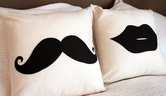 Moustache & Lips Throw Pillow Cushion Cover - Perfect Gift for a Couple for Movember