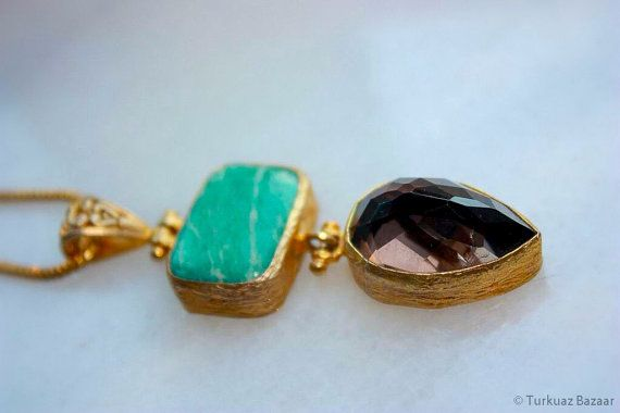 Leyla Handcrafted Pendant with Turquoise & Smoky by TurkuazBazaar, $80.00