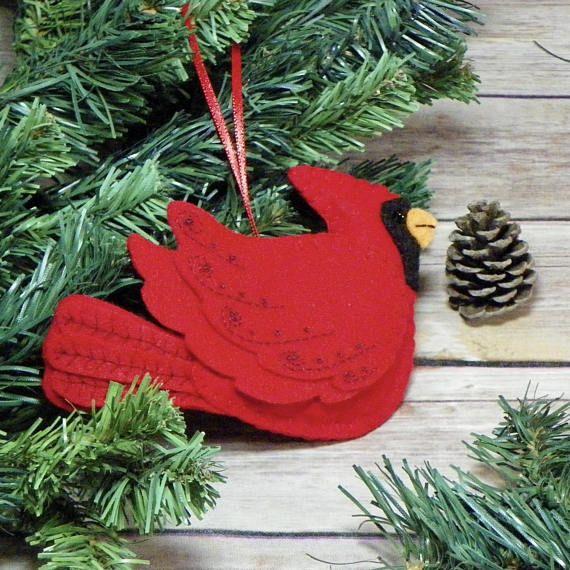 Cardinal Christmas Ornament Felt Cardinal Christmas Ornament