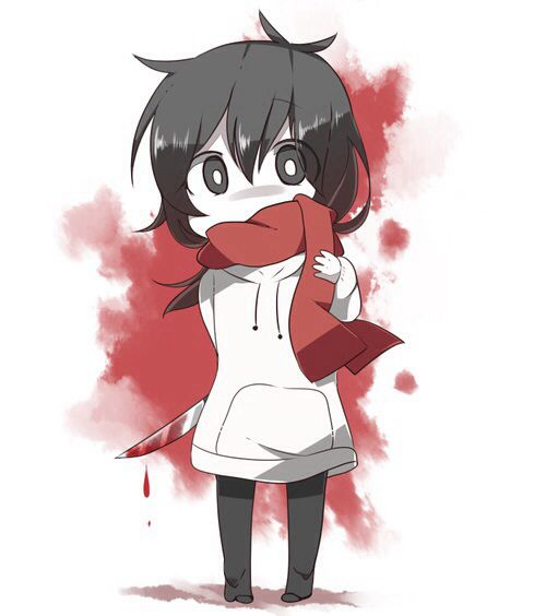 "Everyone else: ""Chibi Jeff the killer wearing a scarf cute! ^_^""  Me: ""-_- no it's MIKASA she was trying on Jeffs's clothes!"""