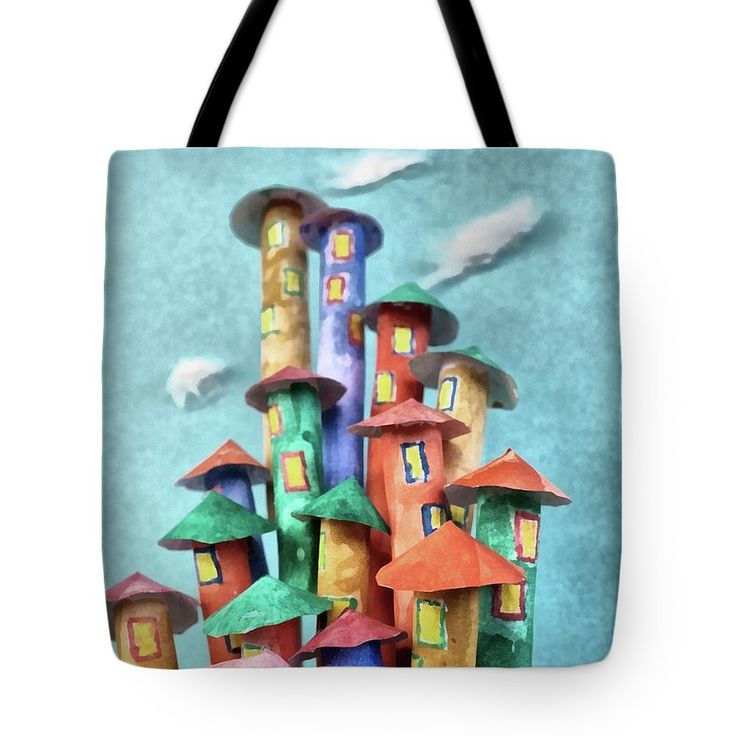 Fairy Tote Bag featuring the painting Fairy City by Grigorios Moraitis