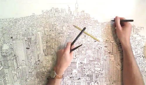 Time-lapse drawing of Manhattan by Patrick Vale. This guy is insane.