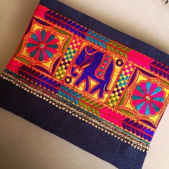 Elefante embrague Bohemia, Boho bolso, moda bolso, bolso para mujer, regalo para ella, bolso de embrague, étnicos embrague, embrague de yute