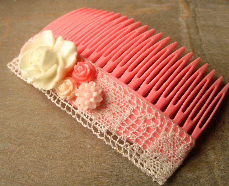 Peigne, barrette pour les cheveux rose - dentelle et fleurs (taille grande) : Accessoires coiffure par piola