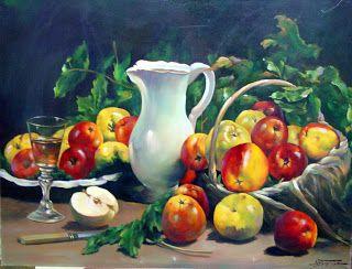 Gallery Corona: Νεκρή Φύση Ένα τραπέζι γεμάτο φρούτα 60χ80εκ Λάδι σε καμβά