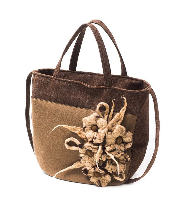 Brown & beige felt sholuderbag with wet felted flowers by Anardeko