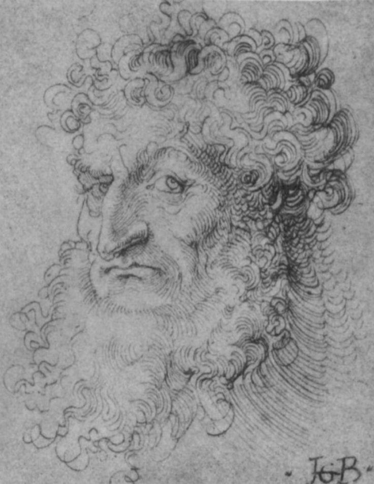 Hans Baldung Grien, Kopf eines Mannes mit krausem Haar und Kinnbart (Strassburg, 1519, Kunstsammlungen der Veste Coburg, Kupferstichkabinett).