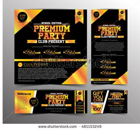 Gold Premium Party Invitation Card, Golden Ticket and Gift Voucher in School edition party. Design Template. Vector Illustration