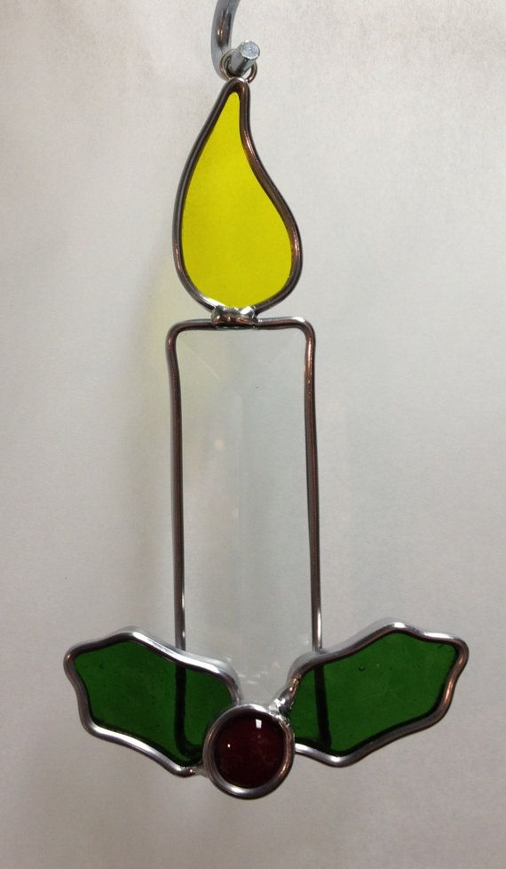 Handcrafted Stained Glass Christmas Candle By Craftycleo