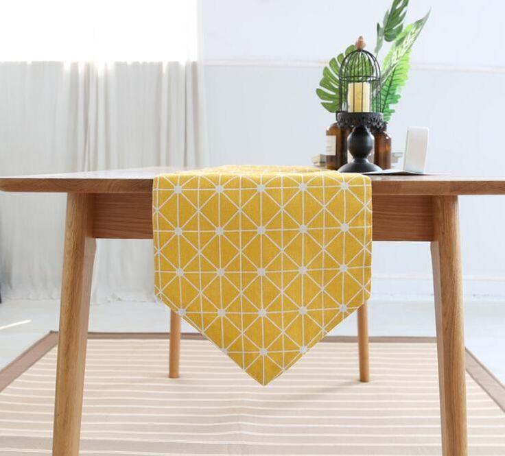 Modern Table Runner Printed Geometric Linen Table Runner