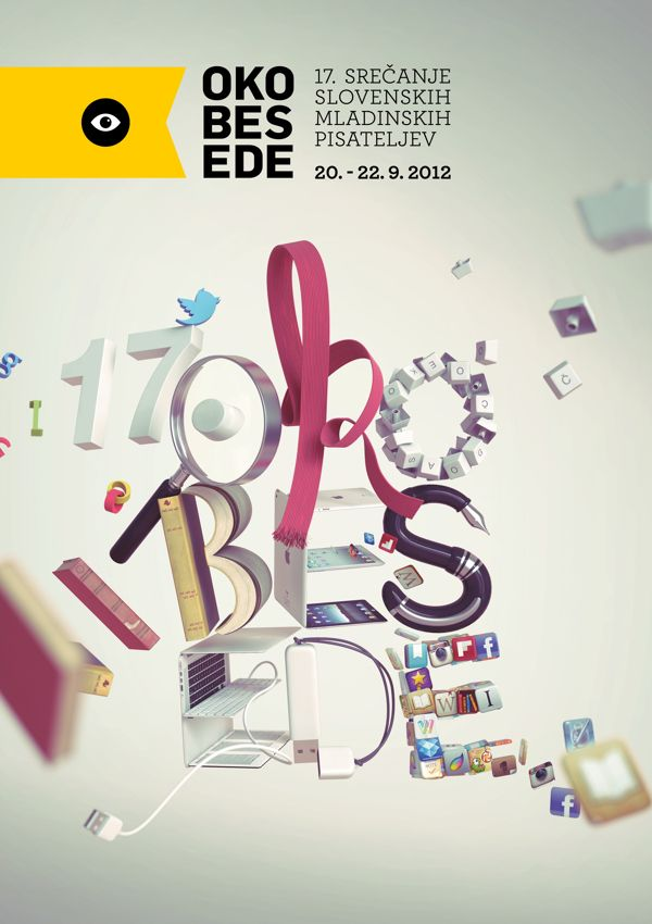 Oko besede 2012 by Črtomir Just, via Behance